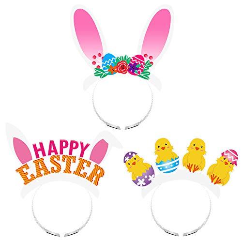 Amosfun 12 STÜCKE Kaninchen Ohren Stirnband Ostern Stirnband Mädchen Küken Haarschleife Set Headwear Zubehör für Mädchen Kind Baby
