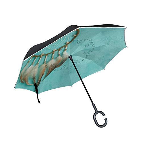 CPYang Paraguas invertido étnico atrapasueños Pluma Doble Capa Paraguas Reflectante Resistente al Viento para Coche al Aire Libre Viaje