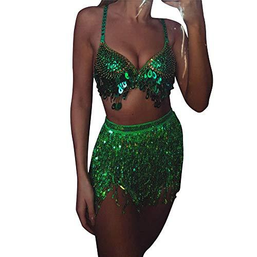NEEKY Women's Tutu Under Skirt Prom Evening Occasion Dress Accessories - Frauen Pailletten Bauchtänzerin Kostüm Troddel Wickelrock Club - Womans Bauchtänzerin Kostüm
