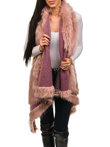 BOLF Damen Weste elegant Fellweste Kunstfell Täglicher Style AAA 1000 One Size Rosa [D4D]