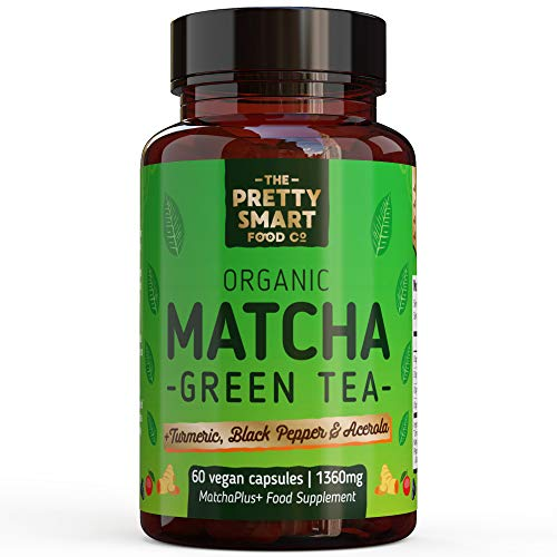Powerful Green Tea Extract Capsules - Organic Matcha Green Tea Tablets - Boosted with Turmeric & Black Pepper for Superior Absorption - Energy Detox Diet Weight Loss Green Tea Supplements 60 Capsules