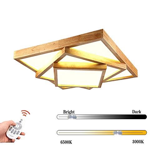 Deckenleuchte Holz Wohnzimmer Lampe Flach Gästezimmerlampe Holzlampe Eiche Deckenlampe Schlafzimmer Vintage Leuchte Decken Licht Mit LED Zimmerlampe Rustikal Küchenleuchte (Größe: 80 * 16cm, 80W)