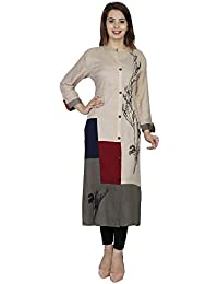 Attire4style Women's Rayon Long Sleeve Banded Collar Straight Kurti With Button Closure