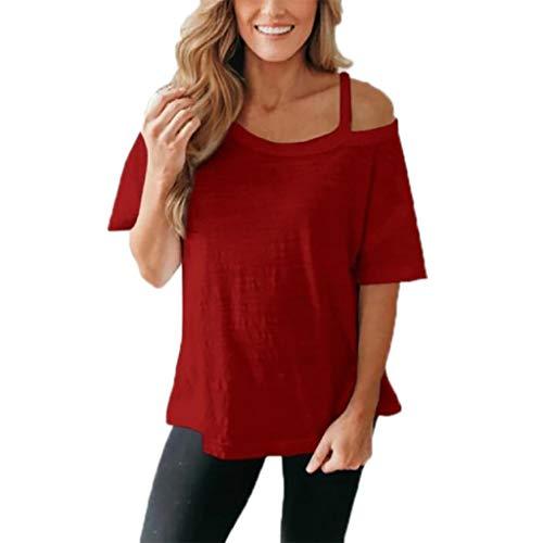 on Damen Top Bluse Bequem Lässig Mode T-Shirt Frühling Sommer Blusen Frauen Art und Weise beiläufige Kurze Hülsen Ernte solide Sling Tops T-Shirt(Wein, 2XL) ()