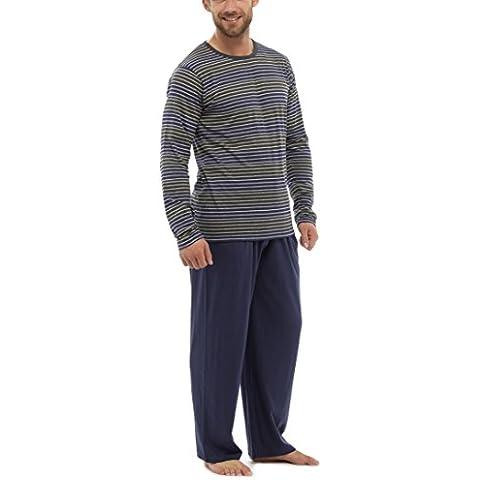 Tom Franks motivo a righe, da uomo, Jersey di cotone T-Shirt di sicurezza per fissaggio in pigiama grigio Large