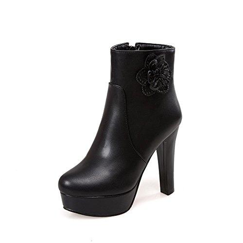 VogueZone009 Damen Eingelegt Hoher Absatz Rund Zehe PU Leder Reißverschluss Stiefel, Rot, 33