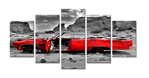 Visario 6307 Bild auf Leinwand Auto Wüste Wrack fertig gerahmte Bilder 5 Teile Marke original, 200 x 100 cm