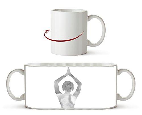Yoga-Pose-Illustration Effekt: Schwarz/Weiß als Motivetasse 300ml, aus Keramik weiß, wunderbar als...