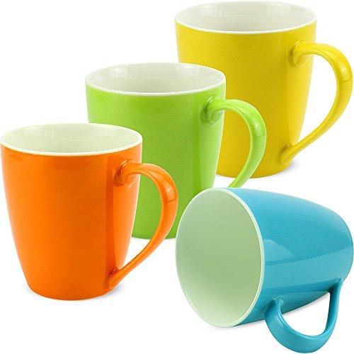matches21 Tassen Becher Kaffeetassen Kaffeebecher bunt Unifarben/einfarbig grün blau gelb orange Porzellan 4-tlg. Set je 10 cm / 350 ml