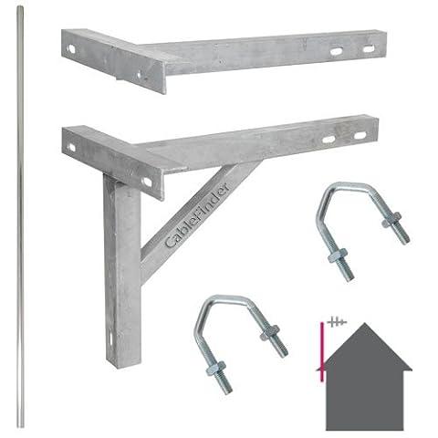 6ft/1,8m mât droit & 30,5cm T & K Extérieur support galvanisé–Antenne TV/satellite Pole Kit d'installation de montage
