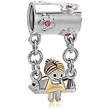 LovelyJewellery Abalorio para pulsera Pandora, diseño de niña en columpio