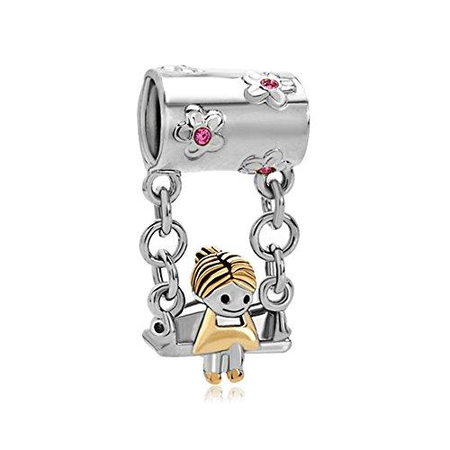 Uniqueen - regalo per la festa della mamma. charm con cristallo rosa raffigurante bambina seduta sull'altalena, adatto a braccialetto.