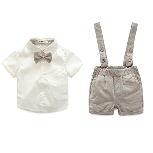 E.life Baby Jungen 2Pcs Gentleman Bowtie Hemd Top Hosenträger Strap Shorts Formal Kinder Party Outfit Kleidung Sets (95cm :18-24m, gold)