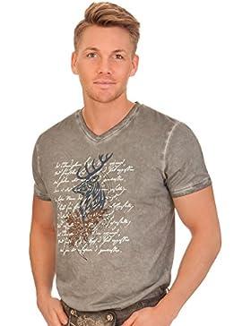 Trachten Herren Shirt - ELCHINGEN - grau, dunkelgrau