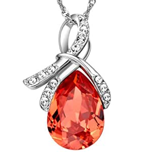 Chaomingzhen 925 Sterling Silver Rhodium Plated Light Red Crystal Angel Teardrop Pendant Necklace