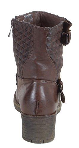 Shellya - Elegante Modello Trapuntato Da Donna Con Mezza Ankle Boots A Quadri Biker Boots Block Tacco Autunno Inverno Scarpe 36 37 38 39 40 41 Karospike Brown