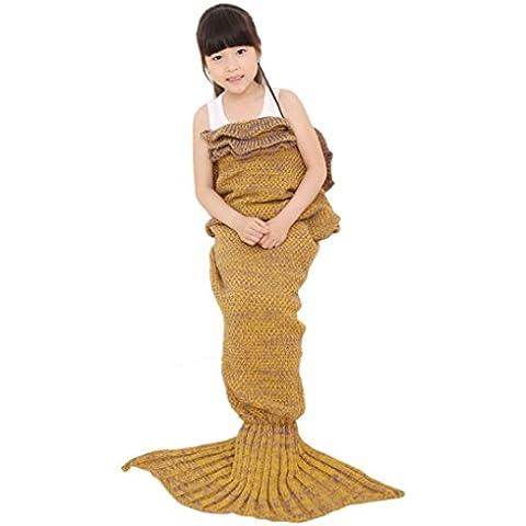 Hansee coperta, Maglia Coda da sirena Sacco nanna avvolgente, confortevole, lavabile in lavatrice, asciugare, Lino, Yellow, 140*70cm/55.1*27.6