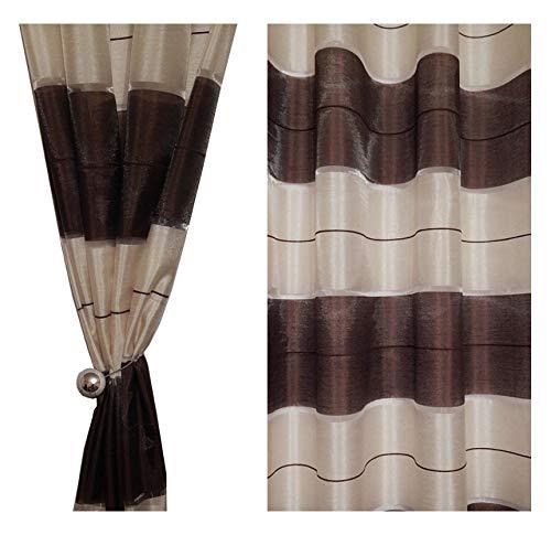 Tenda a occhiello semitrasparente sciarpa a occhiello sciarpa sciarpa decorativa per finestra tenda decorativi a colori strisce balcone di 2 tende con occhielli 145x245 cm agv v3