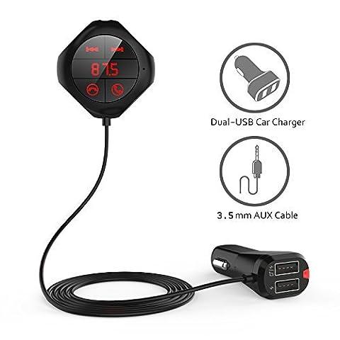 Kit de Voiture Bluetooth Bovon Bluetooth Lecteur MP3 Transmetteur FM Sans Fil Adaptateur Radio Kit de Voiture Mains Libres avec Double Port USB Recharge, 3.5mm Port Audio, Base Magnétique & Fente pour Carte TF, USB Flash Drive (Noir)