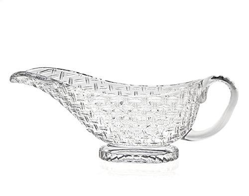 Godinger Silver Art Coronado Non-leaded Crystal Basket Weave Wine Caddy Holder Gravy Sauce Boat With Handle by Godinger Godinger Crystal
