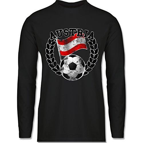 EM 2016 - Frankreich - Austria Flagge & Fußball Vintage - Longsleeve / langärmeliges T-Shirt für Herren Schwarz