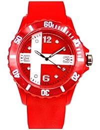 Zohong New World Cup Rusia 2018 - Reloj de Pulsera Unisex con Bandera de Dinamarca,