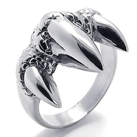 Gnzoe Jewelry,Mens Stainless Steel Rings Bands, Gothic Claw Dragon Biker Silver Width 18mm Size R 1/2