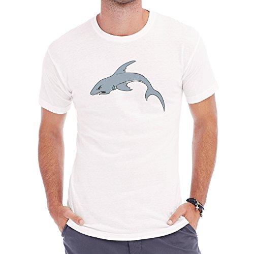 Shark Sea Fish Predator Grey Angry Herren T-Shirt Weiß