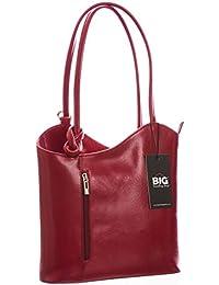BHBS Femmes Véritable cuir italien Unique exploitation d'épaule ou sac à dos sac à main 31x28x8 cm (LxHxP)