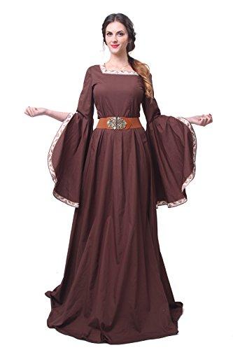 Nuoqi® Damen mittelalterliche Königin Kleid Langarm Maxi Kleid Party Kostüm (XXXL, GC227A-NI)