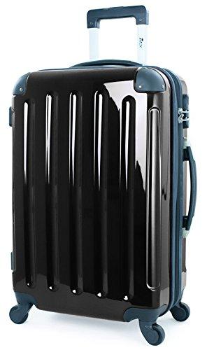 Trolley - Koffer, Harschale, 75cm / Gr. XL / 110 Liter, SCHWARZ-HOCHGLANZ, 4 Rollen, von XAVION, 7260