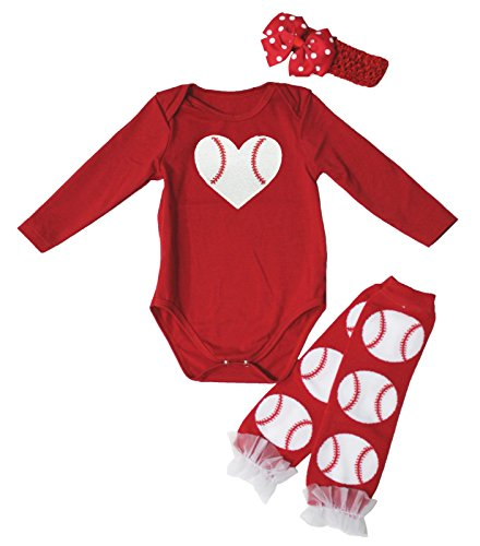 Hot Red Baseball Print One Piece L/s Bodysuit Leg Warmer Baby Set Nb-24m (6-12 Months) Baseball-print Bodysuit