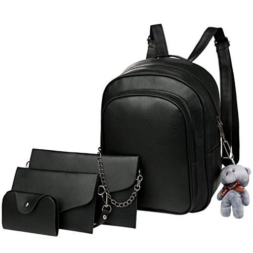 d895fbc76592c Vbiger Tasche Set Damen Mode PU Leder Rucksack mit Handtasche Schultertasche  Clutch und Geldbörse.