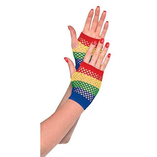DesignWare kurz Fischnetz Handschuhe, Rainbow (Jubeln Kostüm Mädchen)
