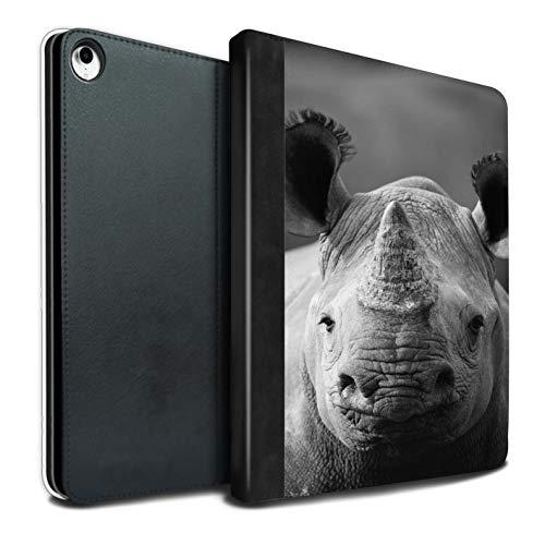 Stuff4 Tablet Hülle Für Apple iPad Pro 12.9 2018/3rd Gen Zoo-Tiere Nashorn Design PU Leder Tasche Brieftasche Schutzhülle Flip Case