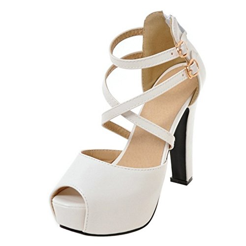COOLCEPT Damen Mode Knochelriemchen Sandalen Peep Toe Plateau Blockabsatz Schuhe Mit Zipper White