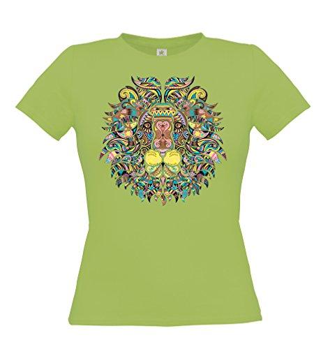 Ethno Designs Streetwear - Mosaic Lion - Löwen T-Shirt für Frauen - Freizeit & Party Shirt - slim fit Pistachio