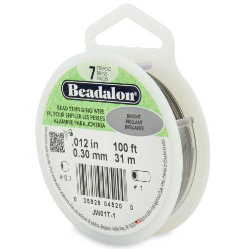 Beadalon 100-Feet 7-Strand Stainless Steel Bead Stringing Wire, 0.012-Inch, Bright by Beadalon