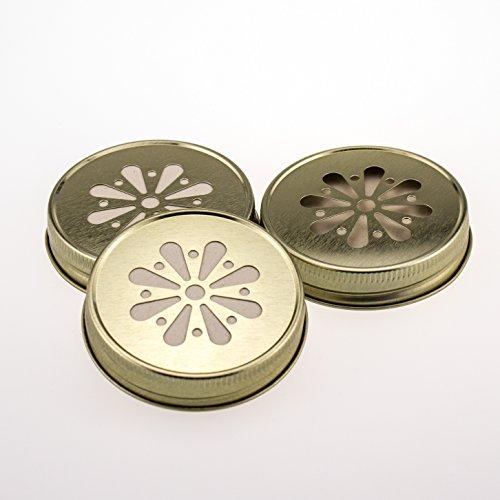 Daisy Lid Gold für Regular Mouth Ball Mason Jars/ 3er Set (Mason Jar Lids-daisy)