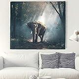 Elefant Wandteppich mit Böhmischem Stil Indisch Hippie Wanddeko Wandbehang Tischdecke Strandtuch zum Wohnzimmer Schlafzimmer Dekor grey 150x130cm