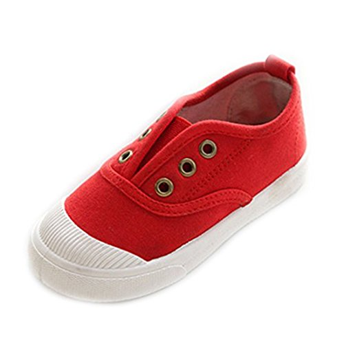 YUHUAWYH Unisex Kinder Sneakers Jungen Canvas Schuhe (26, Rot) (Mädchen Sneakers Rot)
