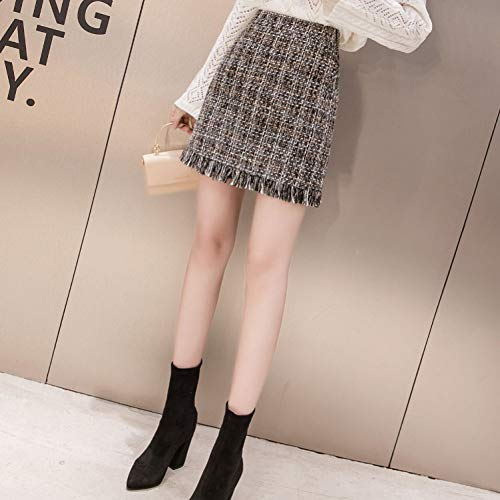 QBXDQ Kurzer Rock Quasten Plaid Ausgefranste Ordnung Tweed Bodycon Minirock Für Frauen Hohe Taille Reißverschluss Herbst Damen Elegante Kurze Röcke Woll