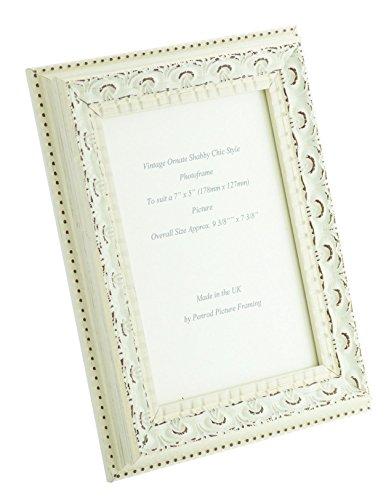 Marco de fotos hecho a mano con adornos envejecidos de color blanco crema, elegante, para fotos de...