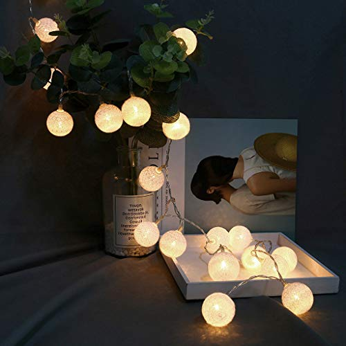 VICKY-HOHO Baumwolle Kugel Lichter 20 LED Baumwolle Fernbedienung String Lights Dekor -