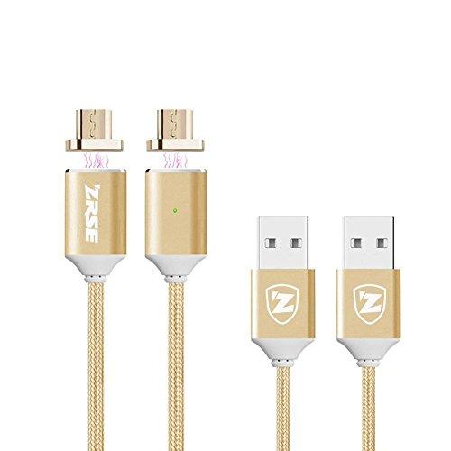 Magnetische Usb Kabel Ladekabel Datenkabel Micro USB Kabel Nylon(2 Stück 2m)High Speed USB Ladekabel 2.0 A Male auf Micro B Magnetische Synchronisations und Ladekabel für Android, Samsung, Huawei, HTC, Sony, Nexus, Xiaomi und mehr-(Gold 6ft) (6ft Micro-usb-kabel)