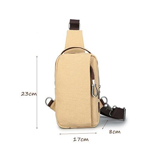 CLOTHES- Versione coreana della spalla trasversale trasversale della tela di canapa Sacchetto di cassa dell'uomo del sacchetto di viaggio di svago libero di modo ( Colore : Marrone chiaro ) Beige