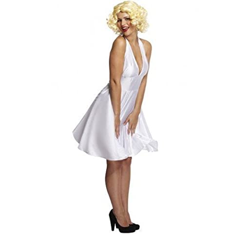 Ladies Sexy White Film Celebrity Star 1950s Fancy Dress Costume Outfit