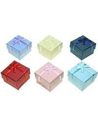 Pack de 48 Cajas de cartón para joyería surtidas en 6 colores - Anillo/Pendientes (4 x 4 x 3 cm) - Christian Gar