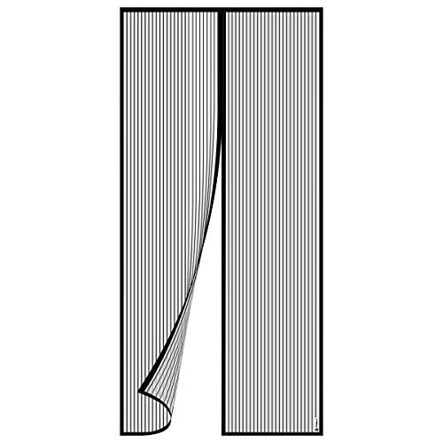 """Philorn Magnet Fliegengitter Insektenschutz Magnetvorhang 110 x 220 cm Schließt Automatisch Kinderleichte Klebemontage Des Lichtdurchlässigen Fliegen-Vorhang 43"""" x 86"""" Schwarz"""
