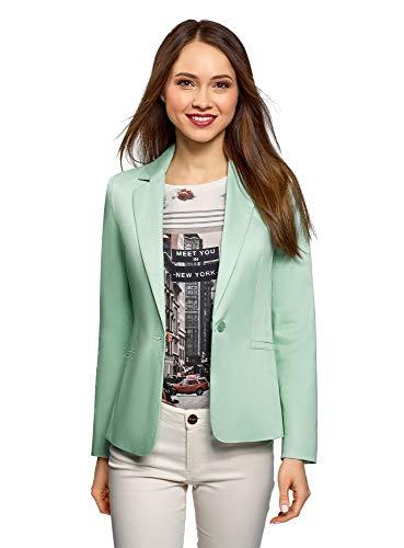 oodji Collection Damen Taillierter Blazer Basic, Grün, DE 38 / EU 40 / M